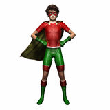 Super hero boy 1. Boy wearing super hero suit with cape standing with hands on hips Stock Images