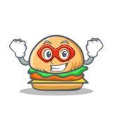 Super hero burger character fast food Royalty Free Stock Photos
