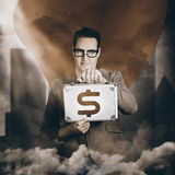 Super hero business man with Investment returns. Classic vintage portrait of a superhero business man holding dollar sign briefcase in urban city sky. Investment Royalty Free Stock Photos