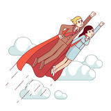 Super hero business man and woman flying fast. Super hero business man and woman in red capes flying fast in the sky with clenched fists. Metaphor of leadership royalty free illustration
