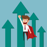 Super hero  businessman flying with growth graph. Royalty Free Stock Photos