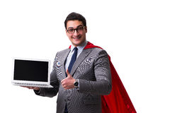 The super hero businessman isolated on white Stock Photography