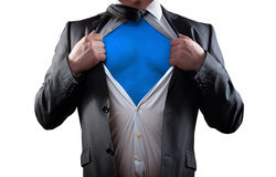 Super hero. Businessman super hero isolated on white background royalty free stock image