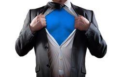 Super hero. Businessman super hero isolated on white background Royalty Free Stock Image