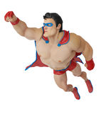 SUPER HERO CARTOON FLYING OUT Stock Photo