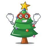 Super hero Christmas tree character cartoon. Vector illustration Royalty Free Stock Photos