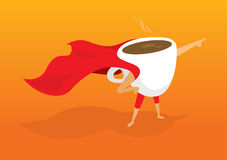 Super hero coffee breakfast pointing aiding to morning rescue Stock Photo