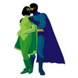 Super Hero Couple Illustration Silhouette Stock Photo