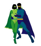 Super Hero Couple Illustration Silhouette Royalty Free Stock Image
