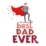 Super hero dad. Cartoon characters of family. Dad and his children celebrating father`s Day. Inscription Best dad ever Royalty Free Stock Images