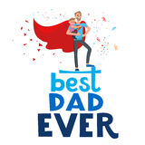 Super hero dad. Cartoon characters of family. Dad and his children celebrating father`s Day. Inscription Dad is my hero Stock Image