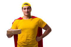 The super hero delivery guy isolated on white Stock Photo