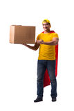 The super hero delivery guy isolated on white Stock Image