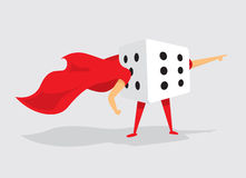 Super hero dice with cape saves the day Stock Photography