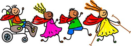 Super Hero Disabled Friends. Whimsical cartoon illustration of a group of happy disabled children wearing super hero capes and playing together stock illustration