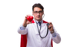 The super hero doctor isolated on white Royalty Free Stock Photos
