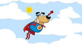 Super Hero Dog Cartoon Character Flying In Sky