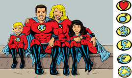 Super hero family. Portrait of a superhero family, logos can be removed and replaced with side ones royalty free illustration