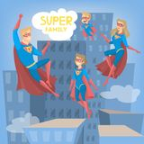 Super hero family. Super hero family flying above the dark city stock illustration