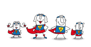 Super Hero Family. We are the family of superheroes and we can help you Stock Image