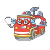 Super hero fire truck character cartoon. Vector illustration Royalty Free Stock Image