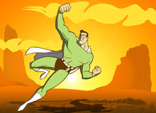 Super Hero Flying in the desert Stock Images