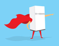 Super hero fridge standing with cape Royalty Free Stock Images