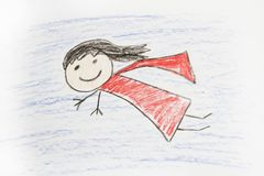 Super Hero Girl with Cape. A super hero girl drawing of a girl in cape stock images