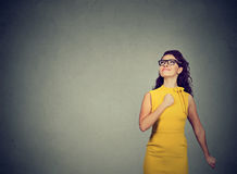 Super hero girl. Confident young woman Stock Images