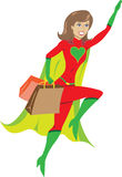 Super hero girl flying away from a shopping spree Stock Photo