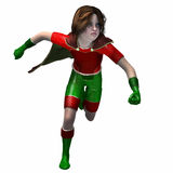 Super hero girl 5. Little girl in super hero outfit running with hands in fist Stock Photography