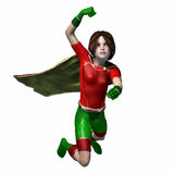 Super hero girl 2. Girl in super hero outfit flying with a punch Royalty Free Stock Photography