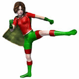 Super hero girl 4. Girl in super hero outfit kicking with leg Stock Image