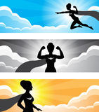 Super Hero Girl Silhouette Banner Stock Photo