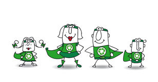 Super Hero green Family. We are the family of superheroes and we can help you to recycling your rubbishes Stock Image