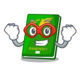 Super hero green passport in the cartoon shape. Vector illustration royalty free illustration