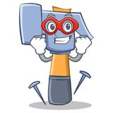 Super hero hammer character cartoon emoticon Royalty Free Stock Photography