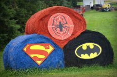 Super Hero Hay Bales Royalty Free Stock Photos