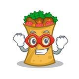 Super hero kebab wrap character cartoon. Vector illustration vector illustration
