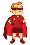 Super Hero Kid. A kid suit a super hero custom with smiling Stock Photo