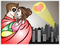 Super Hero In Love. A cartoon illustration of a super hero fall in love Stock Images