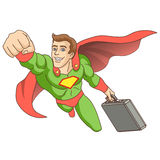 Super hero. A man dressed as a super hero. Super hero, in whose hands is the briefcase, is flying ahead. Vector illustration Royalty Free Stock Photos