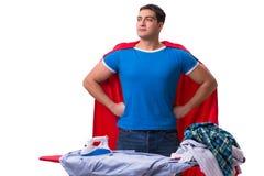 The super hero man husband ironing isolated on white Royalty Free Stock Photo