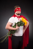 Super hero man in love Stock Photos