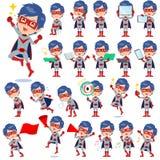 Super hero man red gray 2. Set of various poses of super hero man red gray 2 Vector Illustration