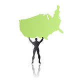Super hero man saving america. Vector illustration of though super man rising the shape of united states of america as map symbolizing the future and the end of Stock Images