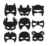 Super hero masks for face character in black. Silhouette mask on white Royalty Free Stock Images
