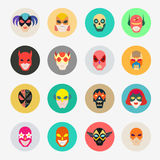 Super hero masks for face character. Superhero flat icons. Symbo Royalty Free Stock Photography