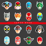 Super hero masks for face character. Superhero flat icons. Stock Images