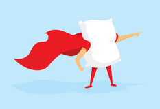 Super hero pillow standing with cape Stock Photo